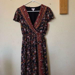Floor length bohemian floral dress